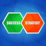 Success and strategy in hexagons, flat design Royalty Free Stock Image