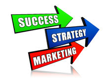 Success, strategy and marketing in arrows Stock Photography