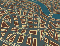 Success street. Editable map of a generic city with business street names stock illustration
