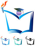 Success student. Illustrated logo design with isolated white background Stock Photos