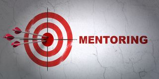 Studying concept: target and Mentoring on wall background. Success Studying concept: arrows hitting the center of target, Red Mentoring on wall background, 3D Royalty Free Stock Photo