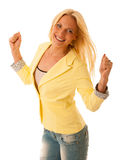 Success - Successful business woman with arms up - isolated over Royalty Free Stock Photos