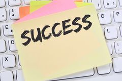 Success successful career business concept leadership note paper. Computer keyboard Royalty Free Stock Image