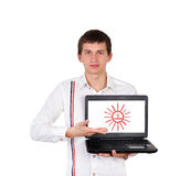 Success symbol on laptop Stock Image