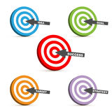Success target. Set of five 3D target icons with different words concept: success,idea,goal,target,strategy, on white background. EPS file available royalty free illustration