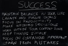 Success. Teaching how to become successful (chalk on blackboard Royalty Free Stock Photos