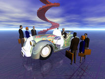 The success team. Your global business team to success, taking care of you needs. 3D illustration of a successful salesman going to work in his car Royalty Free Stock Image