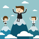 Success Team. Businessman and Businesswoman is on top of a mountain Stock Photography