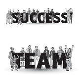 Success team group business people isolate black and white. Royalty Free Stock Images