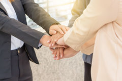 Success Teamwork Concept, Business people joining hands city Stock Photo