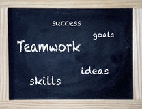 Success, teamwork, skills, goals and ideas on black chalk board Royalty Free Stock Photo