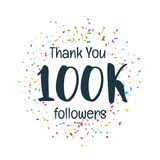 Success template of 100k followers of social media. Vector royalty free illustration