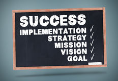 Success terms written on a chalkboard Stock Image