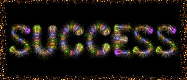 Success text colorful fireworks - motivational concept. Motivational concept image of Success message written with sparkle fireworks on black sky / background Royalty Free Stock Image