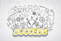 Success text, With creative drawing charts and graphs business success strategy plan idea, Inspiration concept modern design templ Royalty Free Stock Image