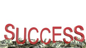 Success text and dollars Stock Image