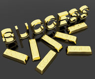 Success Text And Gold Bars As Symbol Of Winning Stock Image
