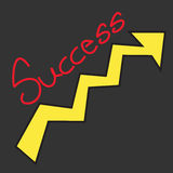 Success text with growth arrow on black background Stock Photos
