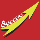 Success text with growth arrow on red background Stock Photos