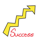Success text with growth arrow on white background Royalty Free Stock Photos