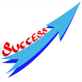 Success text with growth arrow on white background Stock Photography