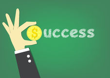 Success text. Hand carry coin as S alphabet and white chalk write 'uccess' that is success Royalty Free Stock Image