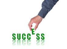 Success. Text success and hand isolated on white. Success Concept Stock Photos