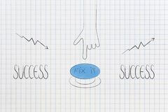 Success text with hand pushing button to fix stats from bad to g. From negative to positive results conceptual illustration: Success text with hand pushing royalty free illustration