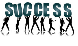 Success Text Holding People In Hands Vector Stock Image