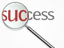 Success text with lupe Royalty Free Stock Images