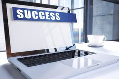 Success. Text on modern laptop screen in office environment. 3D render illustration business text concept, word, achievement, sign, ful, strategy, solution stock illustration