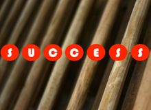 Success text printed on a wooden background stock photograph royalty free stock image