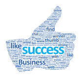 Success Thumb Up Sign Isolated. Success thumb up sign is made of various single words. Isolated on white stock illustration