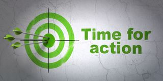 Time concept: target and Time for Action on wall background Stock Photography