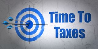 Timeline concept: target and Time To Taxes on wall background Royalty Free Stock Photo