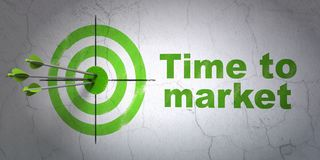 Timeline concept: target and Time to Market on wall background. Success timeline concept: arrows hitting the center of target, Green Time to Market on wall Royalty Free Stock Photo
