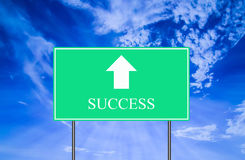 Success Traffic Sign with Blue Sky. Green Success Traffic Sign with Blue Sky Royalty Free Stock Image