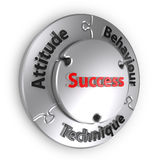 The Success Triangle. In puzzle form. When Attitude, Behavior, Technique fit-in then comes success Royalty Free Stock Photos