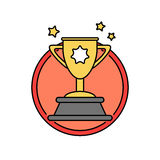 Success trophy first prize retro badge icon, winner reward concept Stock Photos
