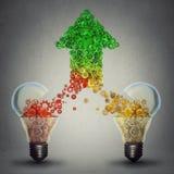 Success Two Glass Light Bulbs Releasing Gears In Shape Of Upward Arrow Stock Photos