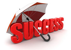 Success under Umbrella (clipping path included) Royalty Free Stock Photos