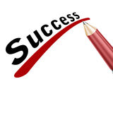 Success underlined in pencil. On a white background Stock Photography