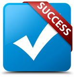 Success (validate icon) cyan blue square button red ribbon in co Royalty Free Stock Images
