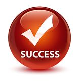 Success (validate icon) glassy brown round button Royalty Free Stock Photography