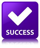 Success (validate icon) purple square button Stock Photos