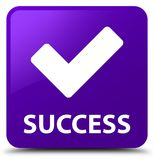 Success (validate icon) purple square button Royalty Free Stock Images