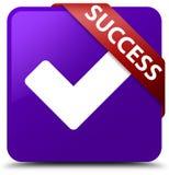 Success (validate icon) purple square button red ribbon in corne Stock Photography