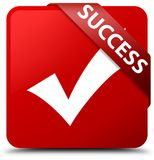 Success (validate icon) red square button red ribbon in corner Royalty Free Stock Photos