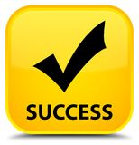 Success (validate icon) special yellow square button Royalty Free Stock Images