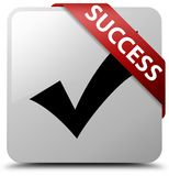 Success (validate icon) white square button red ribbon in corner Royalty Free Stock Images
